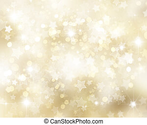 Gold Christmas background with stars and bokhe lights