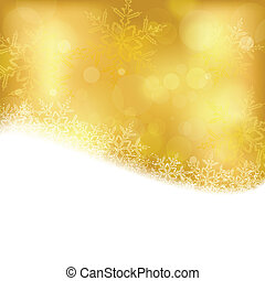 Golden Christmas background with blurry lights