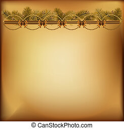 Golden Christmas background with garland, bows and stars. Vector illustration.