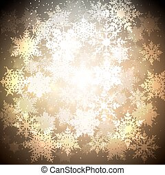 Golden Christmas background with glowing shiny snowflakes and stars. Blurred vector for your decoration