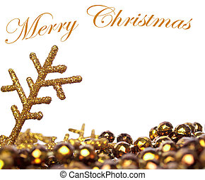 Golden Christmas background with pearls and golden snow flake isolated on white