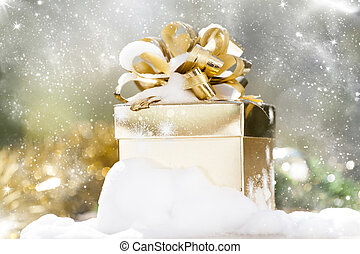 Christmas background with present box