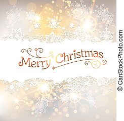 Golden Christmas background with snowflakes