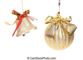 Golden christmas ball and jingle bell