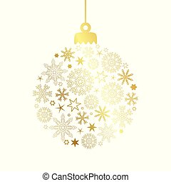 golden christmas ball decoration with snowflakes