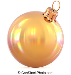 Golden Christmas ball New Year's Eve decoration yellow gold