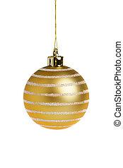 Golden Christmas ball - Single golden Christmas ball,...