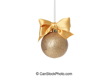 Golden Christmas ball with bow isolated on white background