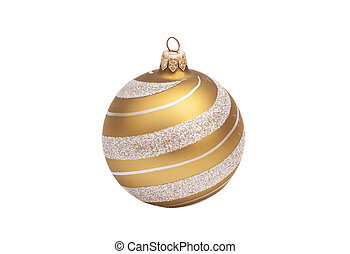 golden christmas ball with glitter on white background