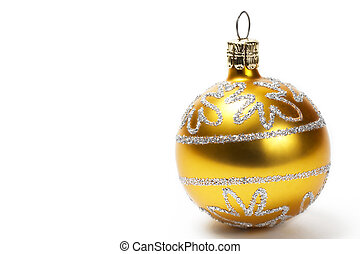 golden christmas ball with glitter stars on white background