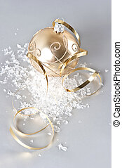 golden christmas ball with golden decoration