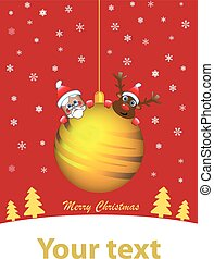 Golden Christmas ball with santa an