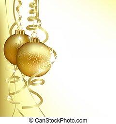 Golden Christmas Balls - colored background illustration