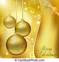 Golden Christmas balls on abstract gold background