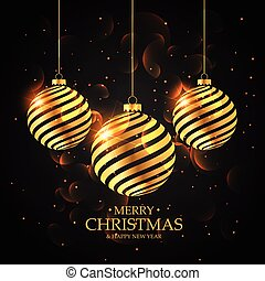 golden christmas balls on black background. merry christmas greeting