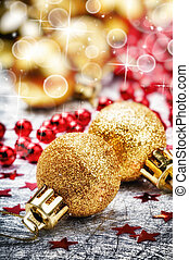 Golden Christmas balls on festive background