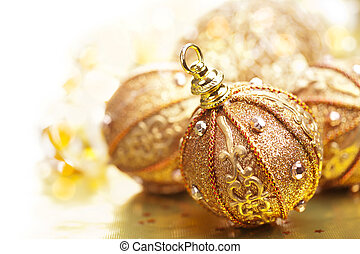 golden christmas balls