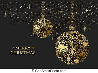 Golden christmas balls with snowflakes on a black background. Holiday card