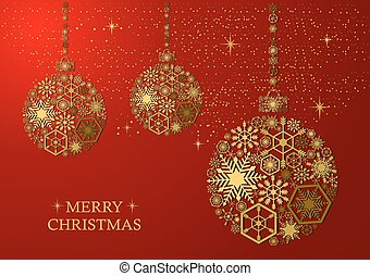 Golden christmas balls with snowflakes on a red background. Holiday card