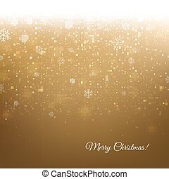 Golden Christmas Banner With Snow
