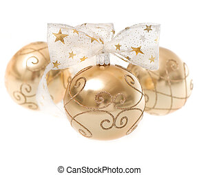 golden christmas bauble with ribbon