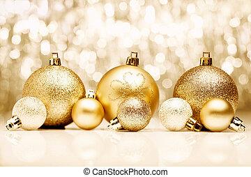 Golden Christmas baubles - An arrangement of golden ...