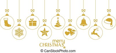 Golden Christmas baubles, Christmas ornaments on white