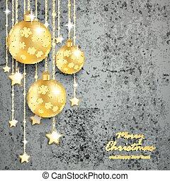 Golden Christmas Baubles Concrete - Christmas baubles on the...