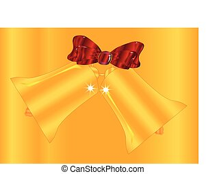 Golden Christmas Bell And Ribbon Background