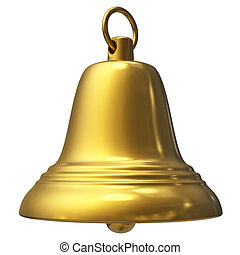 Golden Christmas bell isolated on white