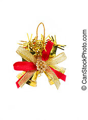 Golden Christmas bell isolated on white background.