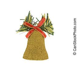 Golden christmas bell isolated over white