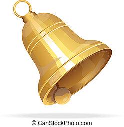Golden Christmas bell on white background - Vector gold...