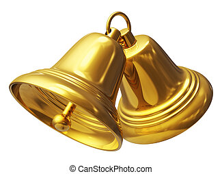 Creative abstract Christmas and New Year celebration concept: two golden Xmas bells isolated on white background