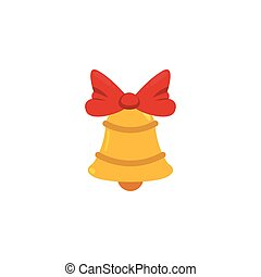 golden christmas bells decorated with red bow