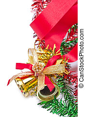 Golden Christmas bells decorating with red ribbon.