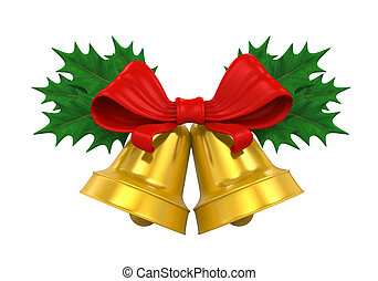 Golden Christmas Bells isolated on white background. 3D ...