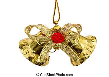Golden Christmas bells, isolated on white background