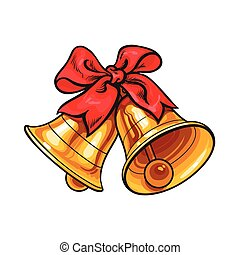 Golden Christmas bells with a red bow