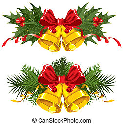 Christmas Bells - Golden Christmas Bells with red bow