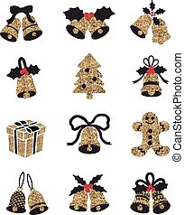Golden Christmas Bells with red ribbon and holly isolated on simple background. Vector illustration.