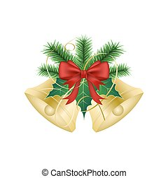 Golden Christmas bells with ribbon, green branches and leaves. Vector design.