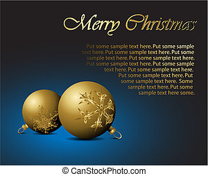Golden Christmas bulbs with snowflakes ornaments
