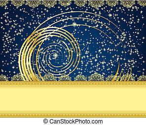 Christmas card - Golden Christmas card with snowflake...