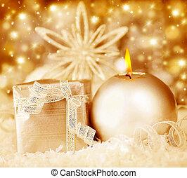 Golden Christmas decoration, holiday background
