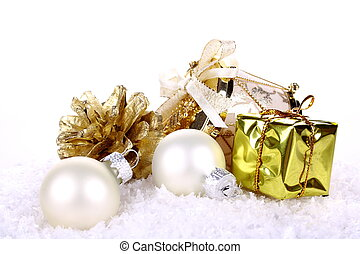 Golden Christmas decoration on white background