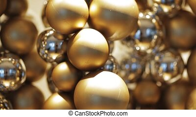 golden christmas decoration or garland of beads