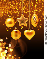 Golden Christmas decoration set with gold bokeh