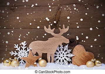Christmas Card With Golden Festive Decoration On Snow. White Moose, Christmas Ball, Hear, Snowflakes, Star. Brown, Rustic, Vintage Wooden Background. Copy Space For Advertisement