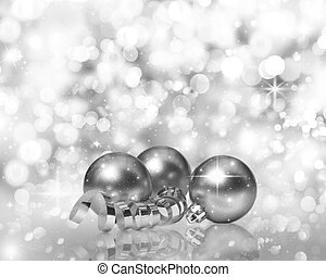 Golden Christmas decorations on a background of bokeh lights and stars